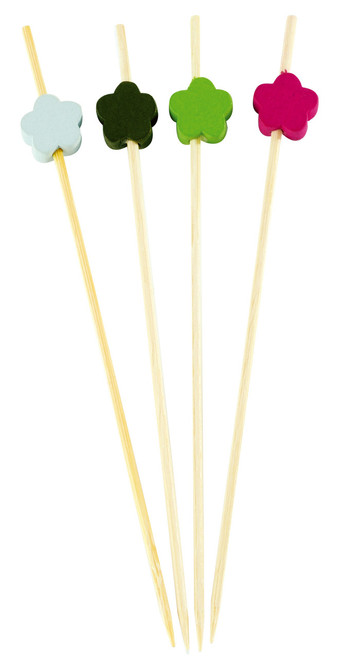 "Bamboo 4 Color Flower 4.7"" Skewers (Case of 1,600 pc)"