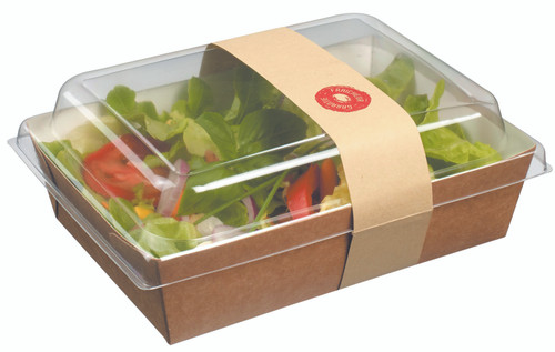 Solia ES32300 Salad Container 33.8 oz, 1000 ml with Lid and Strip (Case of 300 pc)
