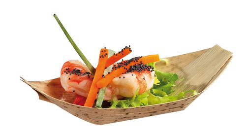 """Bamboo Leaf 7.1 x 3.9 x 1.6"""" Boat Dish (Case of 1000 pc)"""