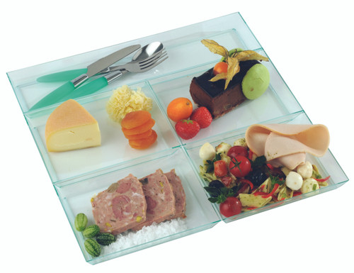 """Solia Five Sections 12.2 x 12.2"""" Tray Clear Green"""