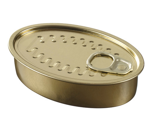 Oval Sardine Tin Can with Lid (Case of 240 pc)