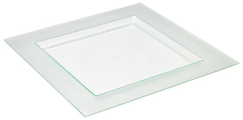 "Diamant 4.4"" x 4.4"" Plate Transparent Green (Case of 100 pc)"