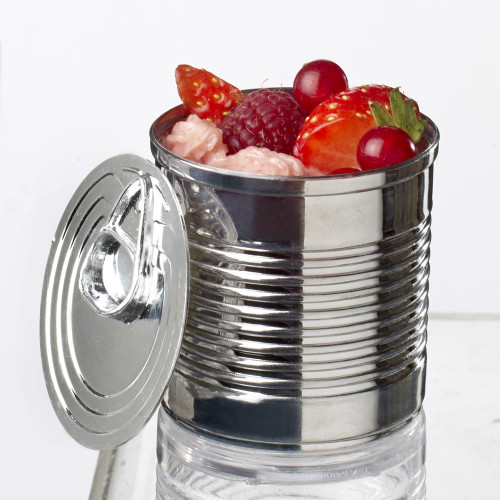 Tin Can with lid 7.4 oz Silver (Case of 100 pc)