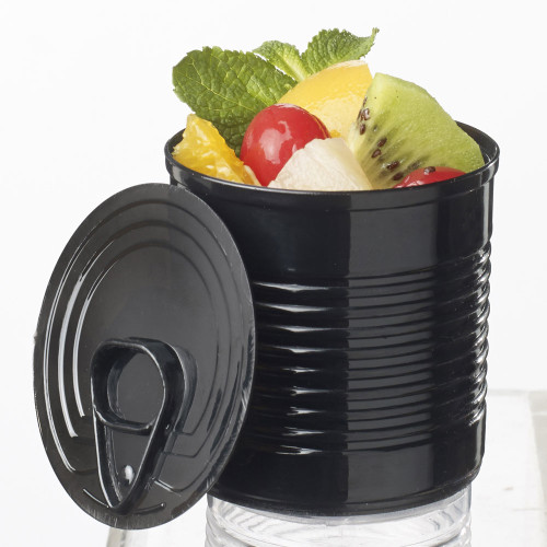 Tin Can with lid 7.4 oz Black (Case of 100 pc)