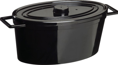 Oval Cooking Pot black 84.5 oz with lid