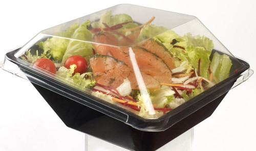 Salad Bowl black base with lid 30.4 oz