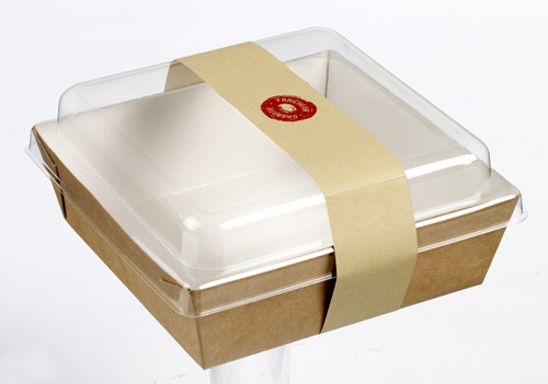 Salad Carrier 31.7 oz Square with Lid and Strip (Case of 250 pc)