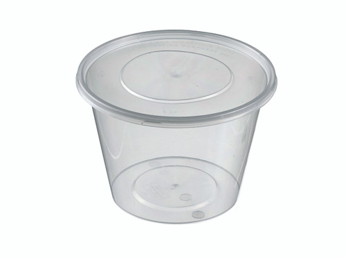 Round Plastic Transparent container with lid PP 500ml/16.9oz (Case of 450 pc)