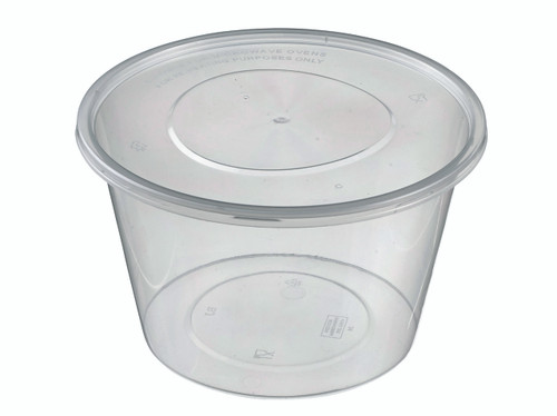 Round Plastic Transparent container PP with lid 1000ml/33.8oz (Case of 300 pc)