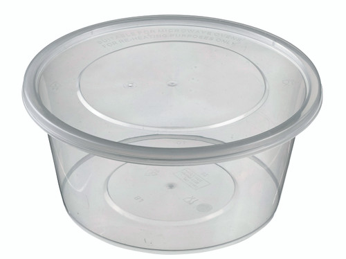 Round Plastic Transparent container with lid PP 1250ml/42.3oz (Case of 200 pc)