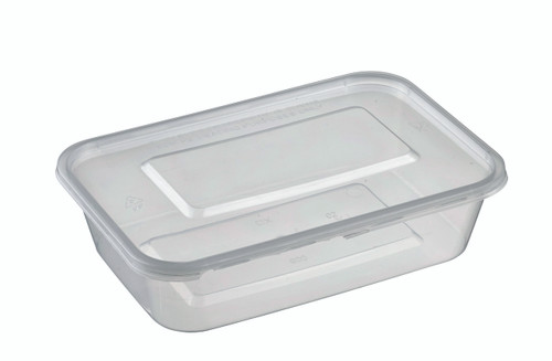 Rectangular Plastic Transparent container with lid PP 500ml/16.9oz (Case of 300 pc)