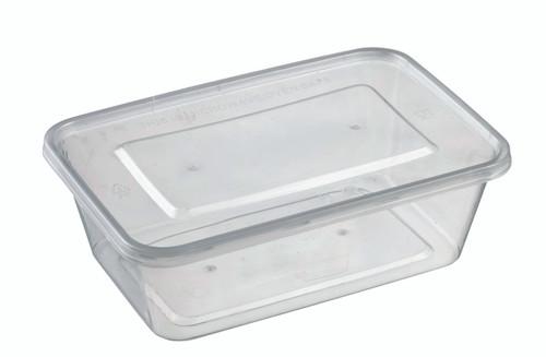 Rectangular Plastic Transparent container with lid PP 750ml/25.4oz (Case of 300 pc)