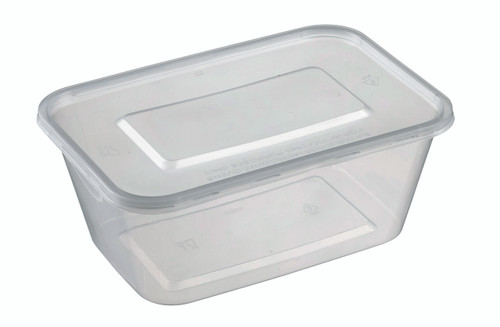 Rectangular Plastic Transparent container with lid PP 1000ml/33.8oz (Case of 300 pc)