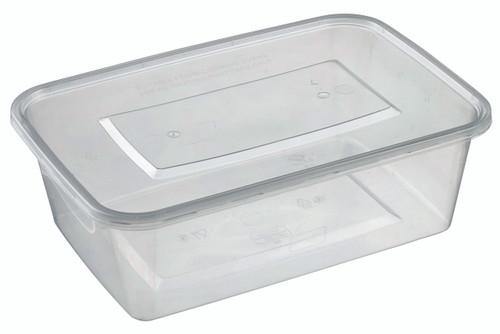 Rectangular Plastic Transparent container with lid PP 1500ml/50.7oz (Case of 150 pc)