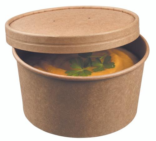 Soup bowl round kraft with kraft lid 450ml/15.2oz (Case of 250 pc)