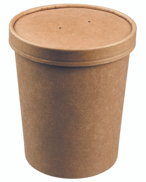 Soup bowl round kraft with kraft lid 750ml/25.4oz (Case of 250 pc)