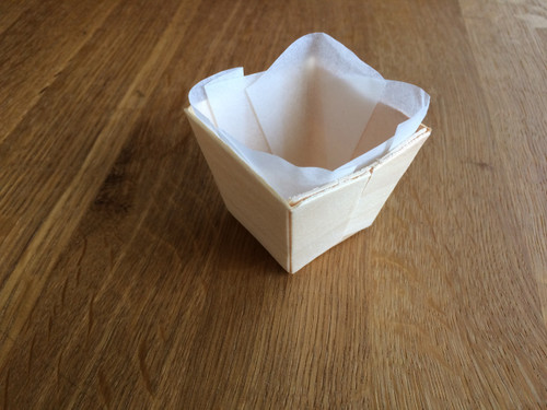 """Square wooden punnet with baking paper 50x50x45mm / 2.2"""" x 2.2"""" x 2.2"""" (Case of 300 pc)"""