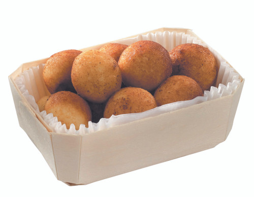 """Panetone wooden punnet with baking paper 140x95x50mm / 5.5"""" x 3.7"""" x 2"""" (Case of 160 pc)"""