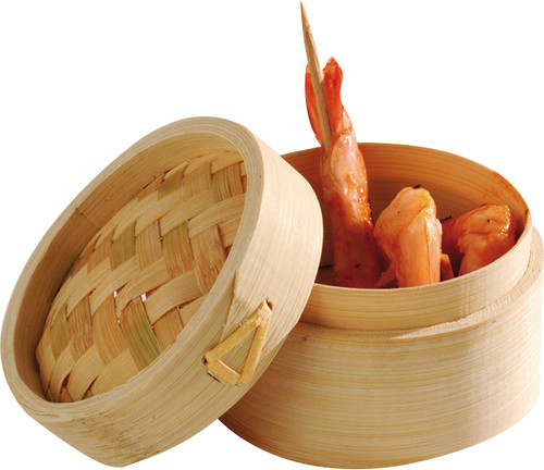 Bamboo Mini steamer round with Lid 75mm (Case of 200 pc)