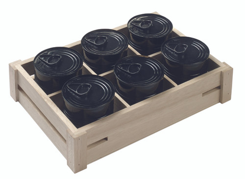 "Wood crate with dividers 346x237x46mm/13.6""x9.3""x1.8"" (Case of 6 pc)"