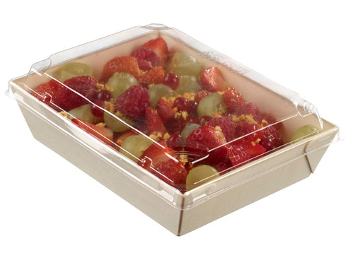 "Laminated wooden punnet with plastic clear lid 180x130x40mm/7.1 ""x 5.1 ""x 1.6"" (Case of 200 pc)"