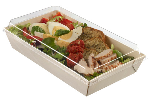"Laminated wooden punnet with plastic clear lid 250x130x40mm/9.8 ""x 5.1 ""x 1.6"" (Case of 150 pc)"