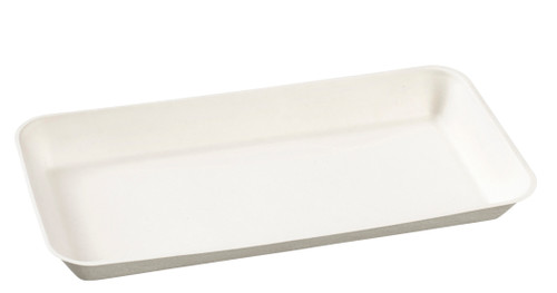 "Sugarcane Pulp Kanopee white plate with PLA lamination 7.9"" x 3.9""- LID NOT INCLUDED - (Case of 200 pc)"
