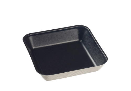 "Sugarcane Pulp Kanopee black plate with PLA lamination 3.9"" x 3.9""- LID NOT INCLUDED - (Case of 200 pc)"