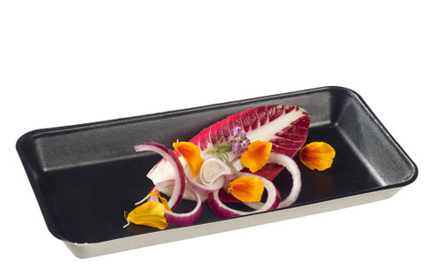 "Sugarcane Pulp Kanopee black plate with PLA lamination 7.9"" x 3.9""- LID NOT INCLUDED - (Case of 200 pc)"