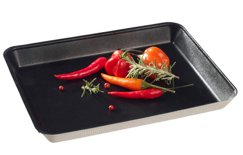 "Sugarcane Pulp Kanopee black plate with PLA lamination 7.9"" x 5.9""- LID NOT INCLUDED - (Case of 200 pc)"