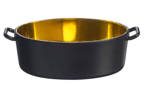 Eskoffie mini Oval cooking pot black-golden 1.5 oz / 45ml (Case of 240 pc)