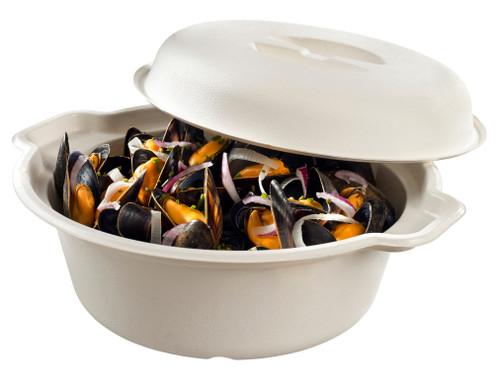 Sugarcane pulp cooking pot with lid PBAT laminated white 57.5oz/1700ml (Case of 80 pc)