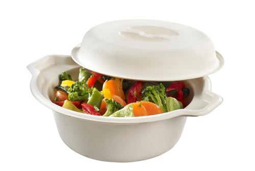 Sugarcane pulp cooking pot white with lid PBAT laminated 25.4oz/750ml (Case of 100 pc)