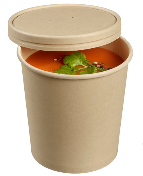 Bamboo fiber round soup bowl with PLA lamination 15.2oz/450ml - LID NOT INCLUDED -(Case of 500 pc)