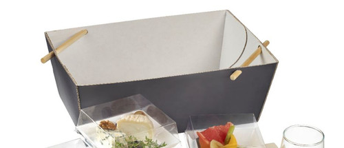 """Bourriche lunch cardboard box 11.5"""" x 7.9"""" x 5.3""""- COVER/LID AND STICK NOT INCLUDED (Case of 50 pc)"""