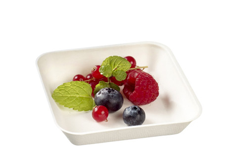 "Sugarcane Pulp Kanopee White plate with PLA lamination 3.9"" x 3.9""- LID NOT INCLUDED - (Case of 200 pc)"