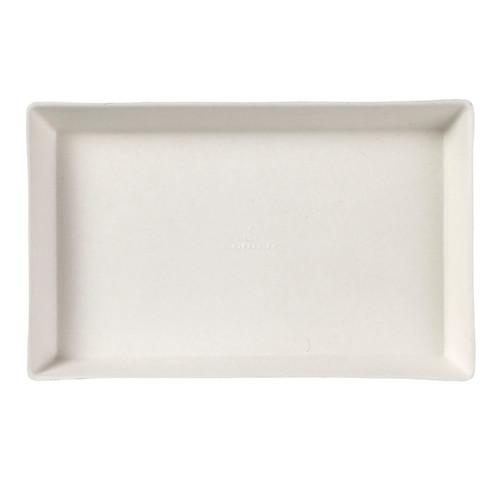 "Sugarcane Pulp Quartz white plate with PLA lamination 6.3""x 3.9""x 0.6"" - (Case of 200 pc)"