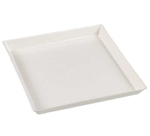 "Sugarcane Pulp Quartz white plate with PLA lamination 6.3""x6.3""x0.6""- (Case of 200 pc)"