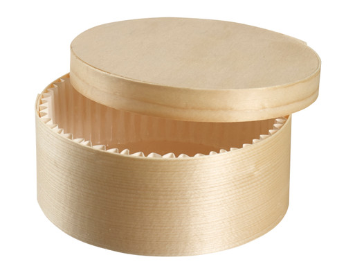 "Wooden Round box with lid and baking paper D5.1"" H2"" / D130mm H50mm (Case of 200 pc)"