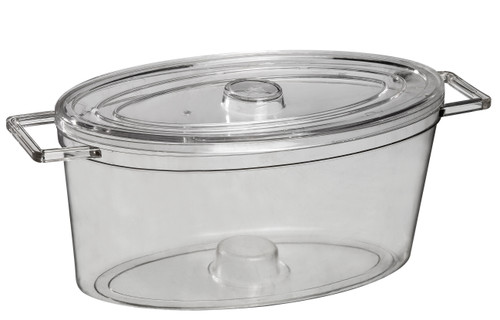Oval Cooking Pot Transparent 84.5 oz with lid (Case of 50 pc)