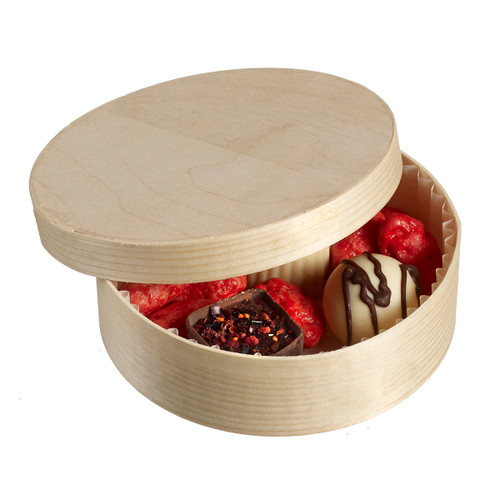 Normande Wooden Round box with Lid and Baking Paper, H 1.6'' Ø 3.9'' (Case of 240 pc)