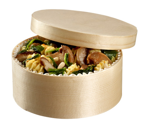 "Normande Wooden Round Box with Lid and Baking Paper D5.1"" H2"" / D130mm H50mm (Case of 200 pc)"