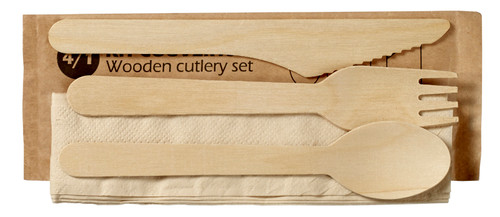 Wooden Cutlery Set 4/1 (Case of 500 Sets)