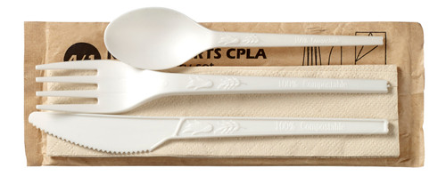 4/1 white CPLA Cutlery set wrapped in a paper bag (Case of 250 sets)