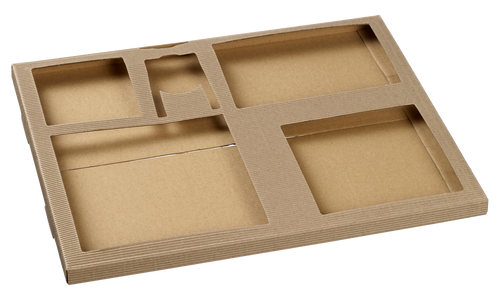 Polaris cardboard Tray base for Quartz Sugarcane pulp Plates  - Accessories not included -(Case of 50 pc)