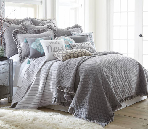 Grey Stonewash Quilt Set - Full/Queen