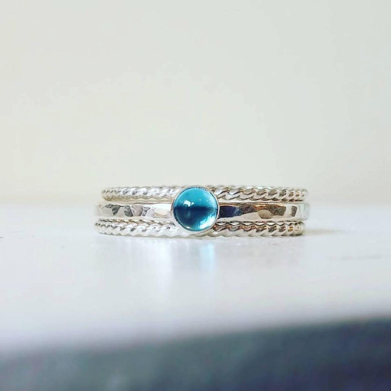 Hera Silver Blue Topaz Stacking Ring