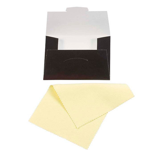 A yellow Sunshine Jewelry cloth for polishing jewelry.