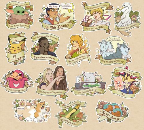 Meme Stickers Kuriosities Meme stickers/meme reward stickers for teachers 150pcs no repetition. meme stickers