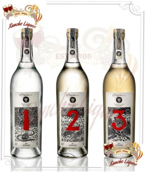 "123 Tequila ""Tres"" 100% Organic Tequila Paradise 3 Pack 750mL"